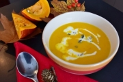 A photo of a bowful of Vegan coconut curry butternut squash soup