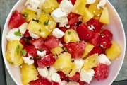 A photo of a three ingredient watermelon salad