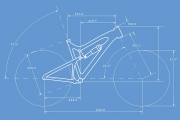 A blueprint style drawing of a racing bicycle