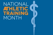 The National athletic training month logo with date info