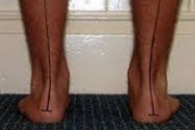 A photo showing a persons feet, ankles and calves from behind