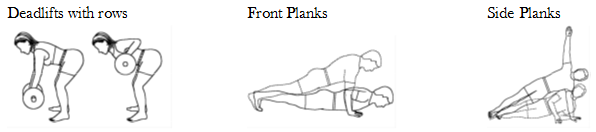 A line drawing of the steps in front deadlifts front plank, and side plank exercises.